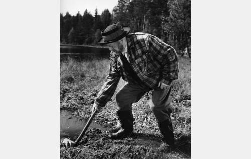 Metsänkulman vanha isäntä Hermanni (Aku Korhonen) suohaudan äärellä. Rooli jäi Aku Korhosen viimeiseksi.