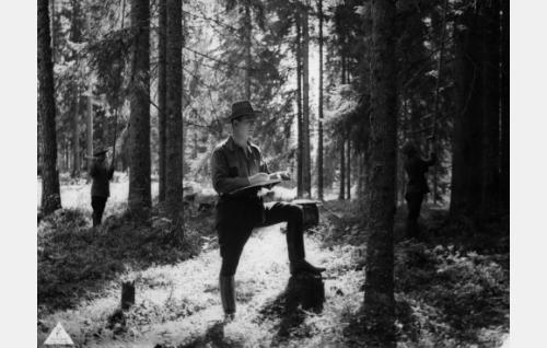 Metsänhoitaja Antti Kare (Helge Ranin) työssään.