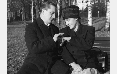 Puotiapulainen Sukkula (Leo Jokela) kihlaa Honkien palvelijattaren Aniinan (Eila Pehkonen).