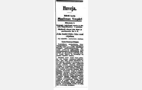 <i>Salaviinanpolttajien</i> ensi-iltailmoitus Helsingin Sanomissa 29.5.1907.