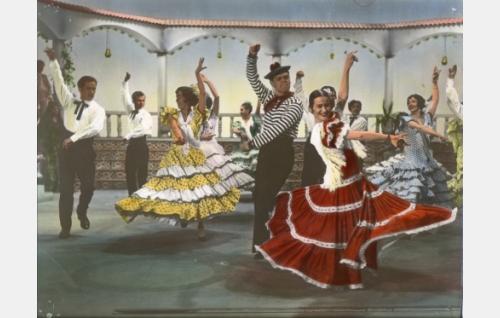 Espanjalainen tanssi. Leif Wager, väritetty kuva.