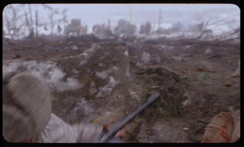Kuvan yläreunassa näkyy filmissä paikallaan pysyväivä juovia ja roskia. Nämä ovat mitä luultavimmin syntyneet jo kuvatessa.
